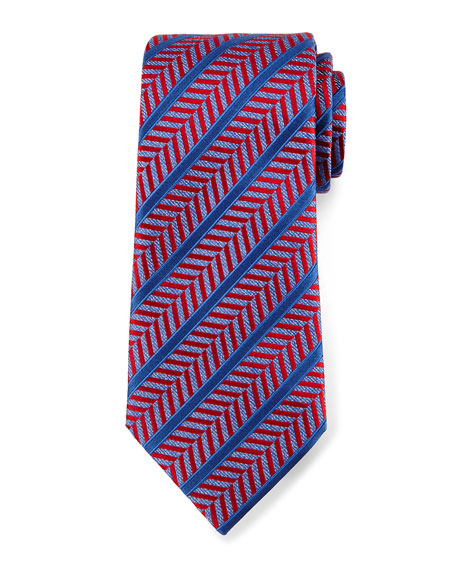 Ermenegildo Zegna Herringbone Satin-Stripe Tie, Red
