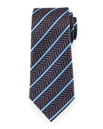 Herringbone Satin-Stripe Tie, Blue