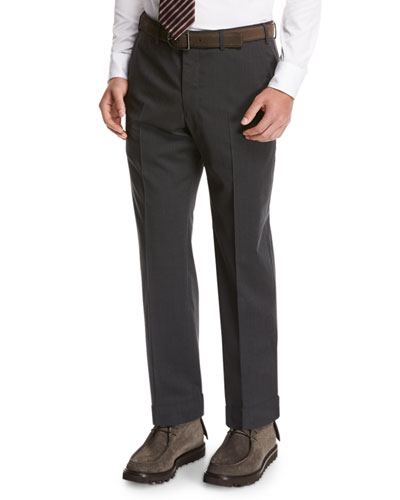 Wool Flat-Front Trousers, Gray