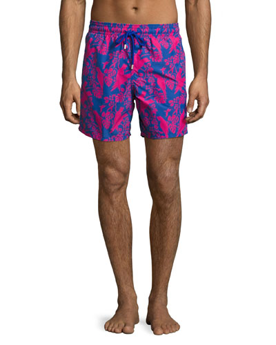 Moorea Cockatoo Swim Trunks, Indigo/Fuchsia