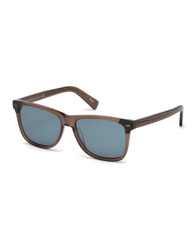 Square Transparent Acetate Sunglasses