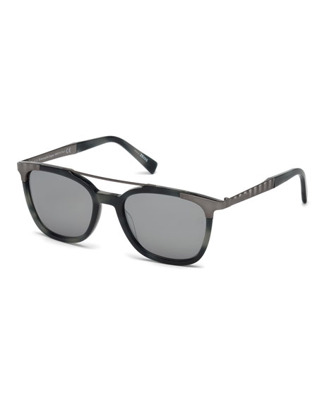 Ermenegildo Zegna Acetate & Chevron Metal Rectangular Glasses,