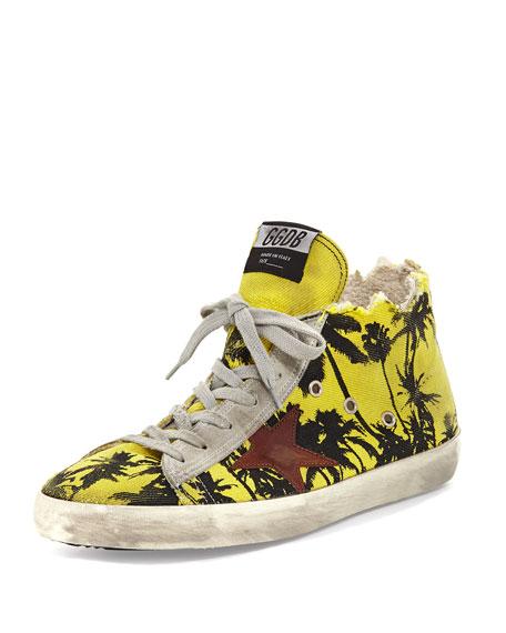 Golden Goose Francy Men's Palm-Print High-Top Sneaker