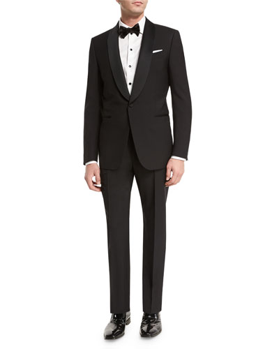 Satin Shawl-Collar Two-Piece Tuxedo Suit  Black