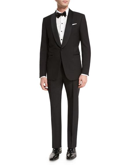 Ermenegildo Zegna Satin Shawl-Collar Two-Piece Tuxedo Suit, Black