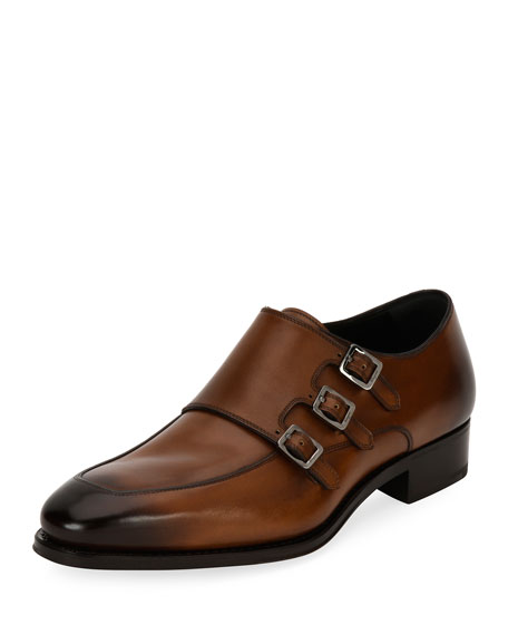 Triple-Monk Leather Shoe, Brown