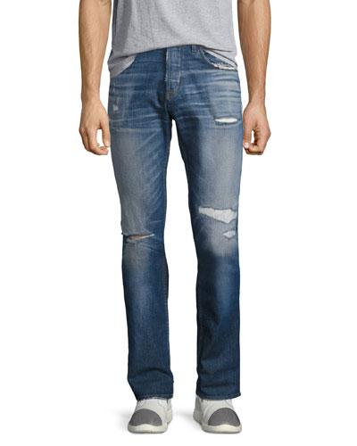 Blake Slim-Straight Distressed Jeans  Blue