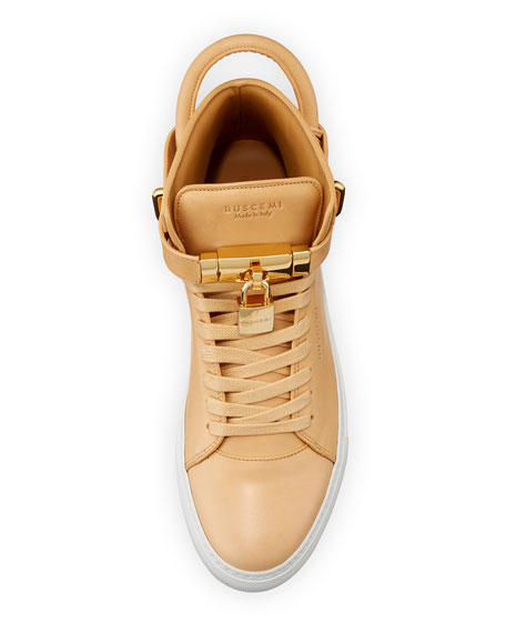 Men's 100mm Leather Mid-Top Sneaker, Natural