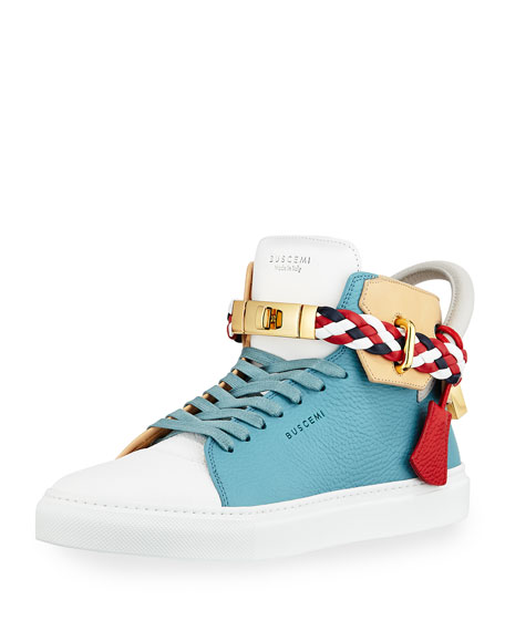 Buscemi Men's 100mm Mix High-Top Sneaker, Oxygen