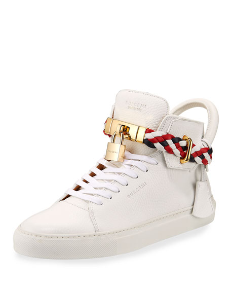 6bbb3a9fc9b798 Buscemi Men s 100mm Leather Mid-Top Sneakers with Woven Strap