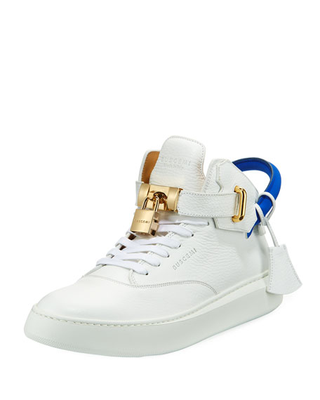 Men's 100mm Leather Mid-Top Sneaker, White Neon/Blue
