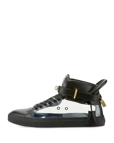Men's 100mm Leather & PVC Mid-Top Sneaker, Black