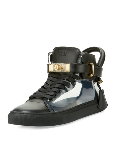 Buscemi Men's 100mm Leather & PVC Mid-Top Sneaker,