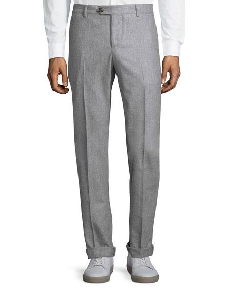Brunello Cucinelli Basic Straight-Leg Trousers, Light Grey