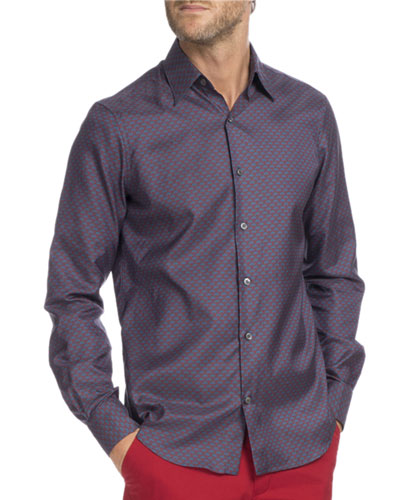 Printed Cotton-Silk Sport Shirt, Navy