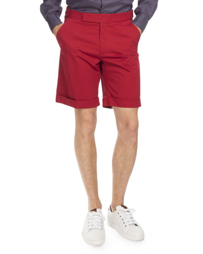 Cuffed Cotton Shorts, Red