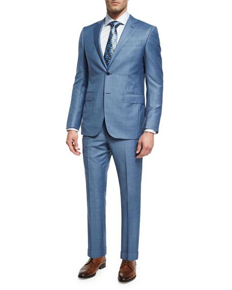 Sharkskin Trofeo® Wool Two-Piece Suit, Light Blue