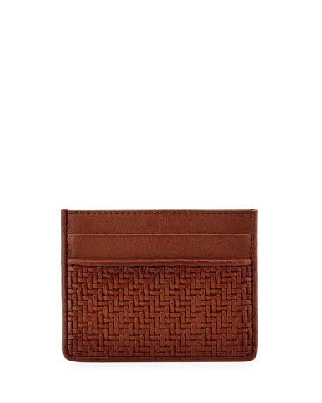 Pelle Tessuta Woven Leather Card Case, Vicuna Brown