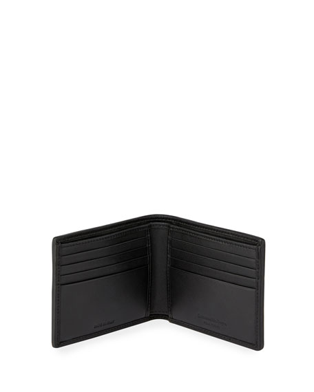 Pelle Tessuta Woven Leather Bi-Fold Wallet, Black