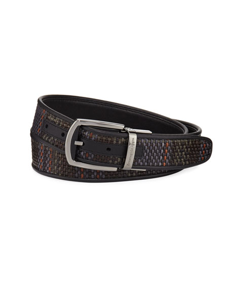 Reversible Pelle Tessuta Leather Belt