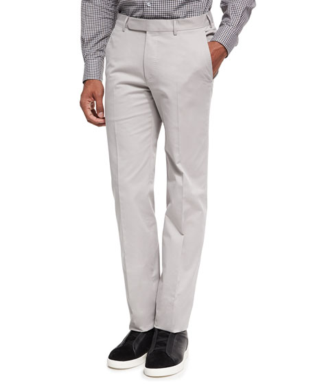 Cotton-Cashmere Flat-Front Trousers, Stone/Off White