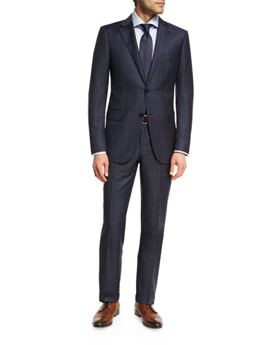 Wool Windowpane Check Two-Piece Suit