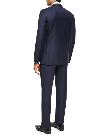 Trofeo® Wool Textured Two-Piece Suit, Navy