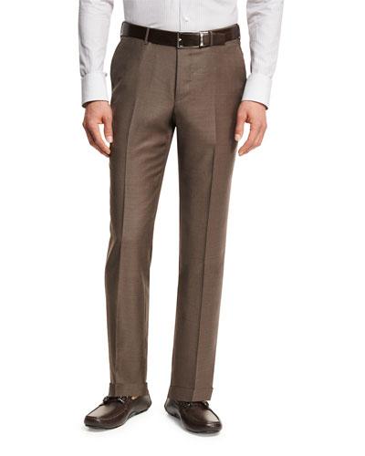 Trofeo® Wool Flat-Front Trousers, Light Brown