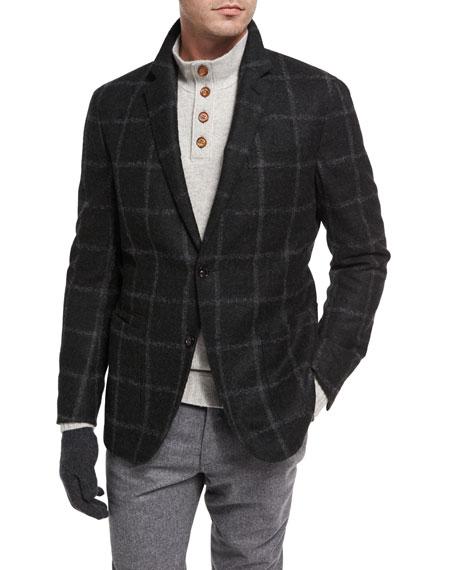 Windowpane Alpaca-Wool Sport Coat, Loden/Olive