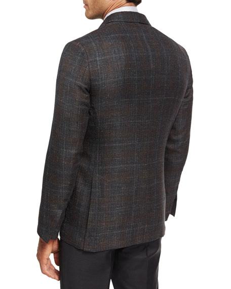 Plaid Cashmere-Silk Sport Coat, Gray
