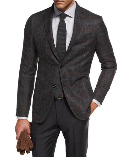 Plaid Cashmere-Silk Sport Coat  Gray