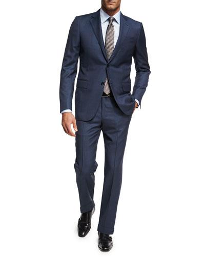Birdseye Wool Two-Piece Suit, Blue