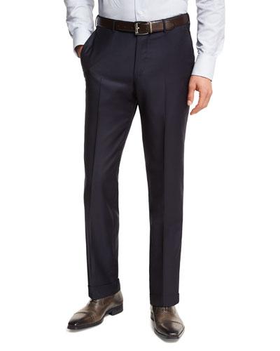 Trofeo® Wool Flat-Front Trousers, Navy