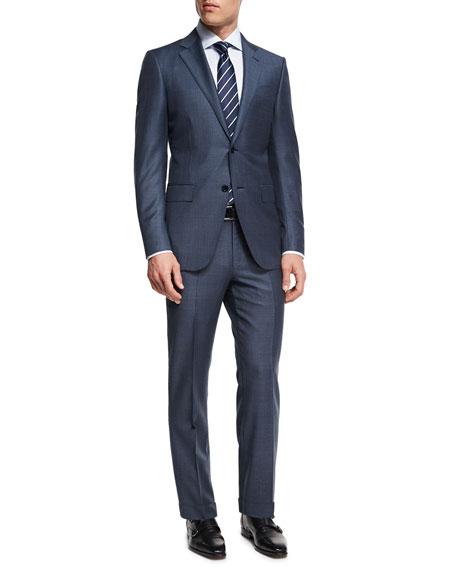 Tonal Plaid Trofeo® Wool Two-Piece Suit, Slate Blue