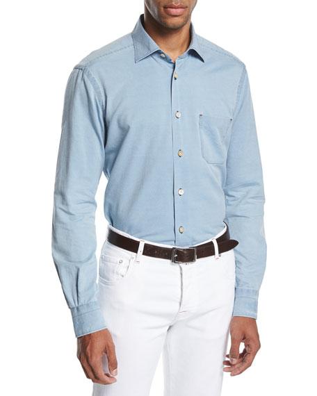 Washed Chambray Shirt, Light Blue