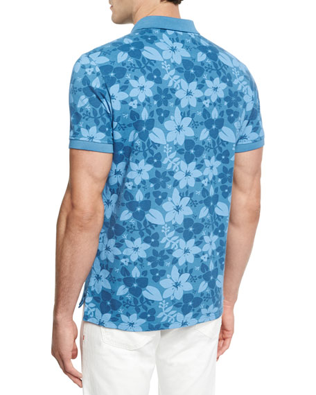 Tropical Flora Batik-Print Polo Shirt, Blue