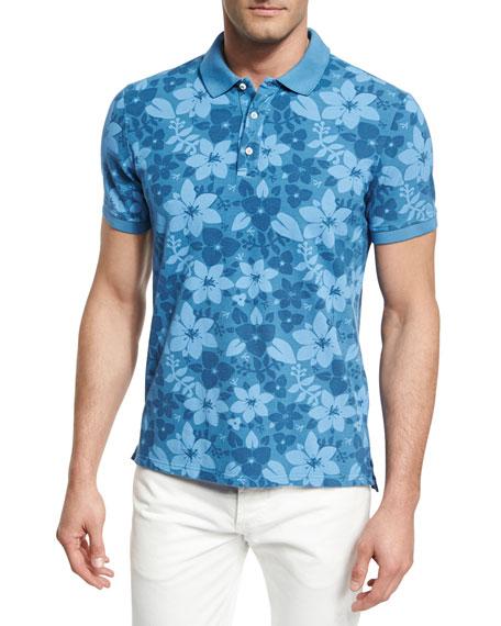 Tropical Flora Batik-Print Polo Shirt, Blue