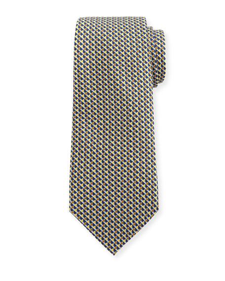 Ermenegildo Zegna Cubicle-Print Silk Tie, Yellow