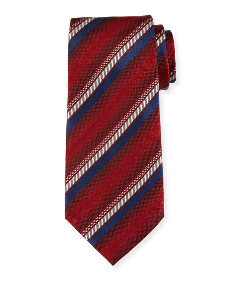 Ermenegildo Zegna Ombre-Stripe Silk Tie, Red