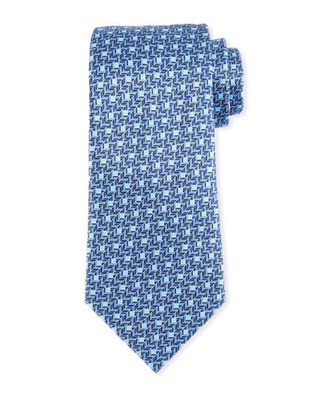 Ermenegildo Zegna Printed Chevron Silk Tie, Blue