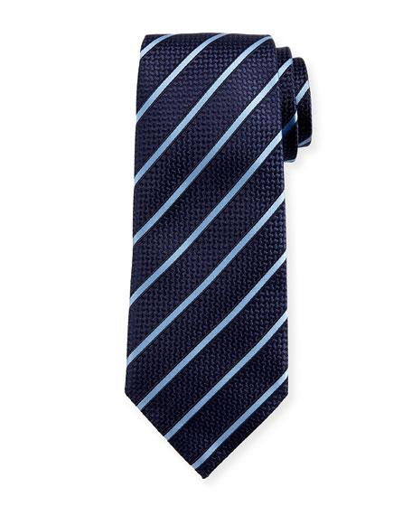 Ermenegildo Zegna Diagonal-Stripe Silk Tie, Navy