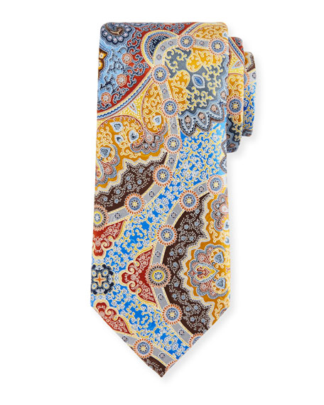 Ermenegildo Zegna Quindici Large Medallion Silk Tie, Gold