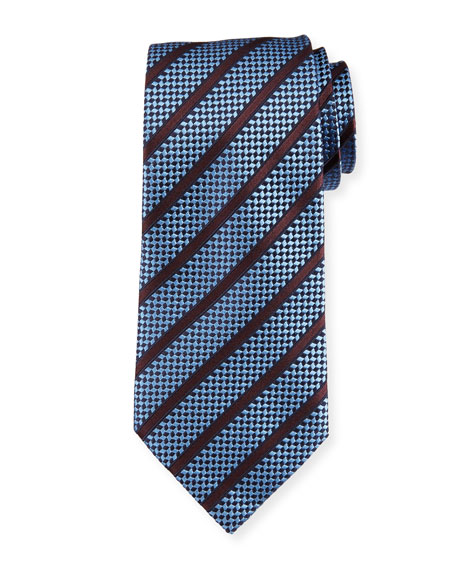Ermenegildo Zegna Chevron Striped Silk Tie, Light Blue