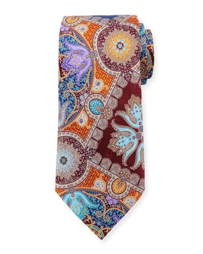 Quindici Hibiscus Silk Tie, Orange
