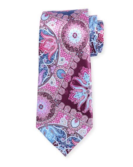Quindici Hibiscus Silk Tie, Purple