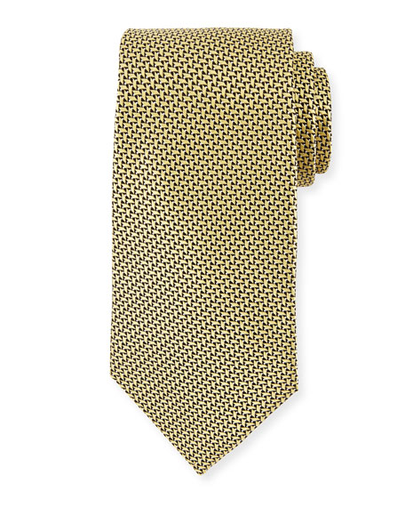 Ermenegildo Zegna Basketweave Silk Tie, Yellow
