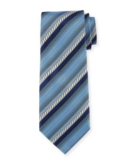 Ombre Striped Silk Tie, Blue