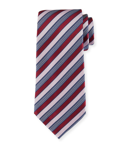 Tricolor Striped Tie, Pink