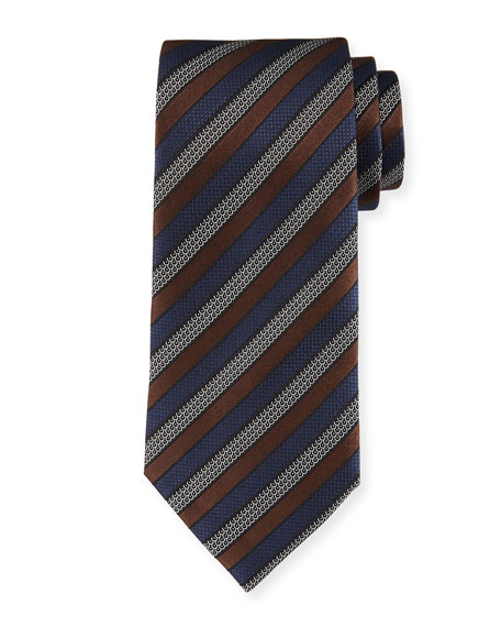Tricolor Striped Tie, Brown