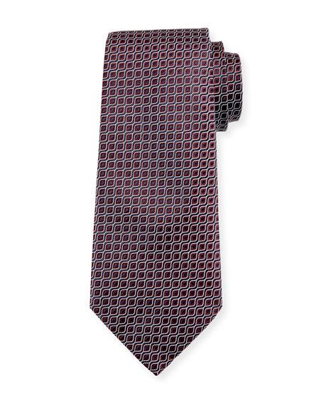 Wave Jacquard Silk Tie, Red